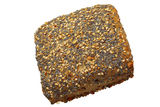 Whole wheat bread roll. Close up of a whole wheat bread roll with sesame and poppy seeds, isolated on white, Adobe RGB, DFF image Stock Images