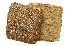 Whole wheat bread roll. Close up of a whole wheat bread roll with sesame and poppy seeds, isolated on white, Adobe RGB, DFF image Stock Photo