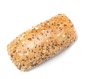 Whole wheat bread roll isolated on white royalty free stock images