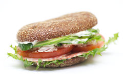 Whole wheat bread sandwich. With salchichone and vegetables Royalty Free Stock Photos