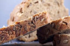 Whole wheat bread with seeds Stock Images