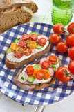 Whole wheat bread with vegetables Royalty Free Stock Images