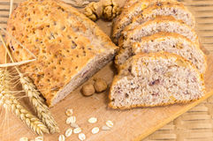 Whole wheat bread with walnuts Royalty Free Stock Photos