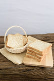 Whole wheat bread in the wooden basket Royalty Free Stock Image