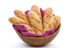Whole wheat breads in basket royalty free stock photography