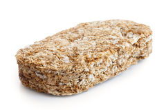 Whole wheat breakfast biscuit. Whole wheat breakfast biscuit isolated on white in perspective Stock Photos