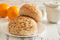 Whole wheat buns Royalty Free Stock Images