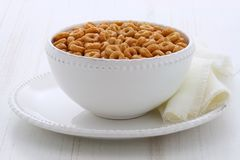 Whole wheat cereal loops. Healthy and delicious whole wheat cereal loops Stock Image