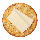 Whole wheat cracker and cheese, isolated on white  Royalty Free Stock Image