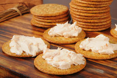 Cream cheese and crackers Royalty Free Stock Images