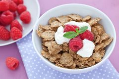 Whole wheat flakes and raspberrie Stock Photos