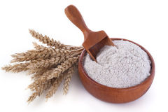 Whole wheat flour. Bowl and scoop with flour made up of whole grain cereals (Multi grain stock photo