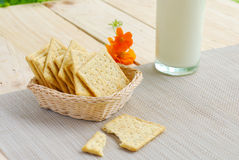 Whole wheat flour crackers and milk Royalty Free Stock Photo