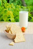 Whole wheat flour crackers and milk Royalty Free Stock Images