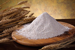 Whole wheat flour and ears of granp Stock Photo