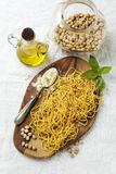 Whole Wheat Fresh Homemade Pasta,. Made from Chick-pea flour Stock Photo