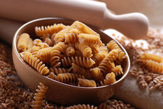 Whole wheat fusilli pasta Royalty Free Stock Images