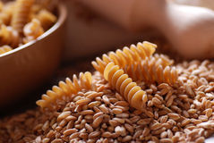 Whole wheat fusilli pasta Royalty Free Stock Image