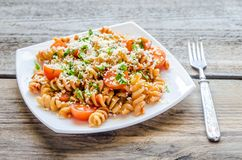 Whole wheat fusilli pasta Stock Photography