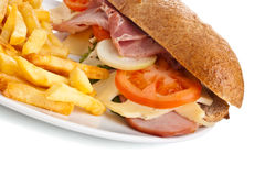 Whole wheat HamS andwich with fries Royalty Free Stock Images