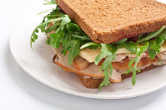 Whole wheat healthy turkey sandwich Royalty Free Stock Photography