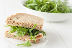 Whole wheat healthy turkey sandwich Stock Photos
