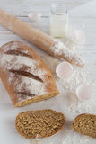 Whole wheat homemade bread, bio ingredients, healthy food Stock Photo