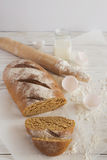 Whole wheat homemade bread, bio ingredients, healthy food Royalty Free Stock Photos