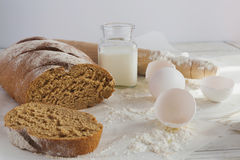 Whole wheat homemade bread, bio ingredients, healthy food Stock Photos