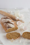 Whole wheat homemade bread, bio ingredients, healthy food Stock Images