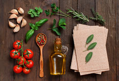 Whole wheat lasagna sheets and ingredients Stock Photos