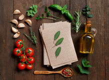 Whole wheat lasagna sheets, vegetables and herbs Stock Images
