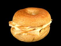 Whole wheat mini bagel sandwich Stock Images