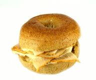Whole wheat mini bagel sandwich Royalty Free Stock Photos