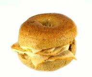 Whole wheat mini bagel sandwich Royalty Free Stock Photos