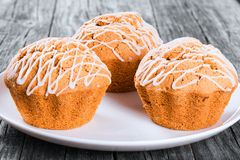 Whole Wheat muffins with raisins, nuts and ginger, close-up Royalty Free Stock Photo
