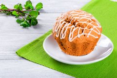 Whole Wheat muffins with raisins, nuts and ginger, close-up Royalty Free Stock Images