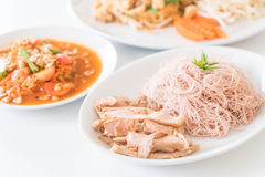Whole wheat noodle with roast pork and som tum. Healthy food stock photography