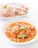 Whole wheat noodle with roast pork and som tum. Healthy food stock photo