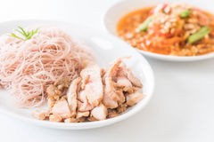Whole wheat noodle with roast pork and som tum. Healthy food royalty free stock photography