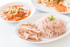 Whole wheat noodle with roast pork and som tum. Healthy food royalty free stock photos