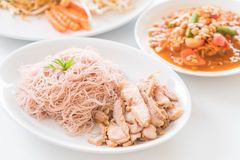 Whole wheat noodle with roast pork and som tum. Healthy food stock photos