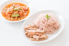 Whole wheat noodle with roast pork and som tum. Healthy food royalty free stock photo
