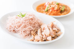 Whole wheat noodle with roast pork and som tum. Healthy food stock image