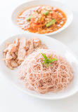 Whole wheat noodle with roast pork and som tum. Healthy food royalty free stock images
