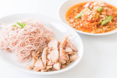 Whole wheat noodle with roast pork and som tum. Whole wheat noodle with roast pork and som sum  - healthy food royalty free stock photo