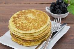 Whole Wheat Pancakes with Blackberries Stock Photos