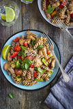 Whole wheat pasta  with chicken and vegetables Royalty Free Stock Image