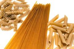 Whole wheat Pasta isolated on white. Royalty Free Stock Photos