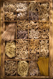 Whole wheat pasta Stock Images